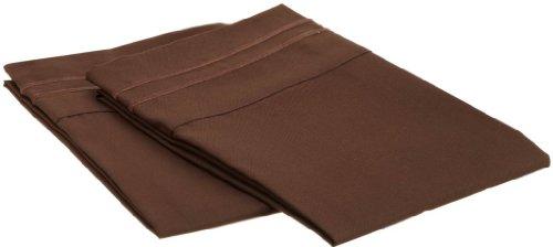 Clara Clark Supreme 1500 Collection Pillowcase Set - Standard Size, Chocolate Brown