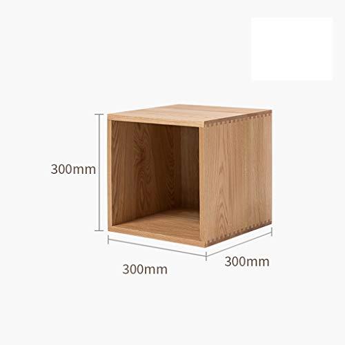 Massief houten combi-kast TV-kast zijkast, mobiel, flexibel opbergvak With Back panel (30cm) Eik