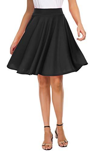 EXCHIC Women's Basic Skirt A-Line Midi Dress Casual Stretchy Skater Skirt (S,...