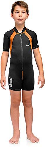 Cressi Kids Swimsuit Short Sleeve, Black/Orange, M