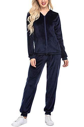 UNibelle Damski dres treningowy, dres do joggingu, welur, bluza z kapturem i spodnie, odzież sportowa z zamkiem błyskawicznym, ściągaczem, kieszenie S-XXL