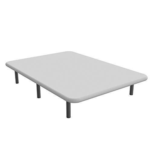 Base tapizada en 3D, Reforzada con 5 Barras transversales y Juego de 6 Patas metálicas. Cabeceroscamas.com (Blanco, 90x200)
