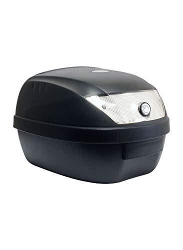 S-LINE Top Case Moto 28L Noir Mat Dim : 39x39x29cm (1 Casque) Livré avec Platine