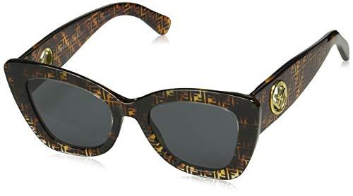Fendi Women's Logo Narrow Cat Eye Sunglasses, Dark Havana, Brown, Print, One Size