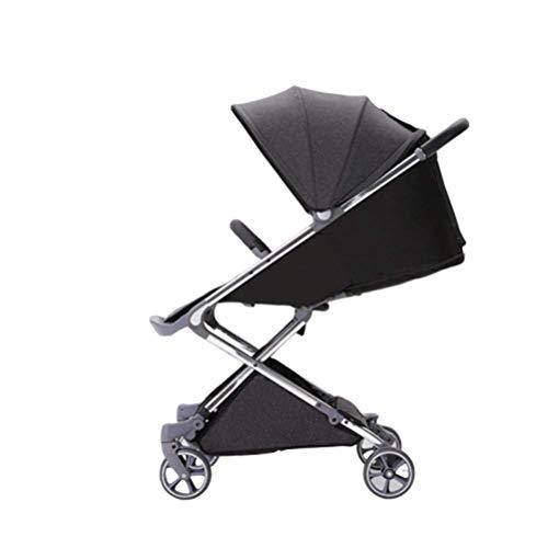 Silla de paseo | Cochecito de bebé plegable con arnés y freno de cinco puntos seguros, Respaldo ajustable, Incluyendo reposapiés, Protector de lluvia y portavasos, Ruedas giratorias de 360 grados, par