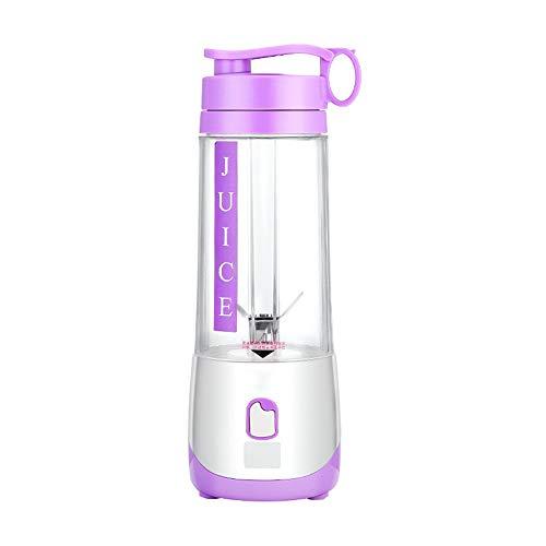 XUE-BAI 400ML Mini Batidora Portátil, Licuadora para Fruta,Recargable Juice Blender con USB,Cortador de 4 hojas,Jugo Mascarilla, Aire Libre Deportes/Purple
