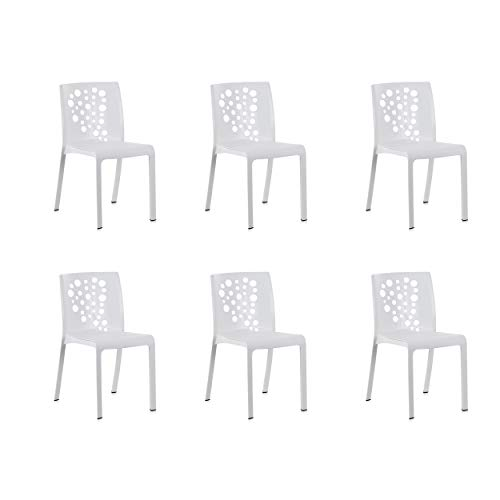 Shaf – Pack de 6 sillas de exterior/interior Cocktail. Color Blanco