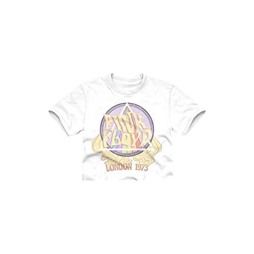 Pink Floyd Ladies Rock Shirt Dark Side of The Moon Crop Top Tee (White London, Medium)