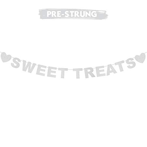 Sweet Treats Silver Glitter Banner Candy Bar Sweet Shop Dessert Wedding Party Table Sign Hanging Decoration.