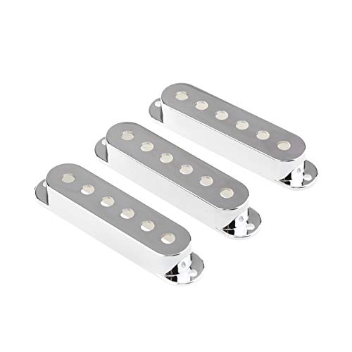 Musiclily 52mm Plastic Strat Style Guitar Single Coil Pickup Cover Set, Chrome(3 Pieces)