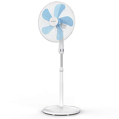 Brandson - Standventilator 50 W - Standlüfter 40 cm - Ventilator höhenverstellbar – Neigungswinkel 30° verstellbar - hoher Luftdurchsatz - 3 Geschwindigkeitsstufen – Oszillation 80° - weiß