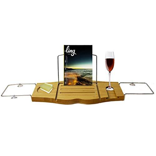 NuoRong Bamboo Vasca da Bagno Caddy Vassoio Staffa in Acciaio Inox a Scomparsa Costruito nel Supporto del Libro Tablet Vassoio & Wine Glass Slot, Premium Bagno Mensola Rack