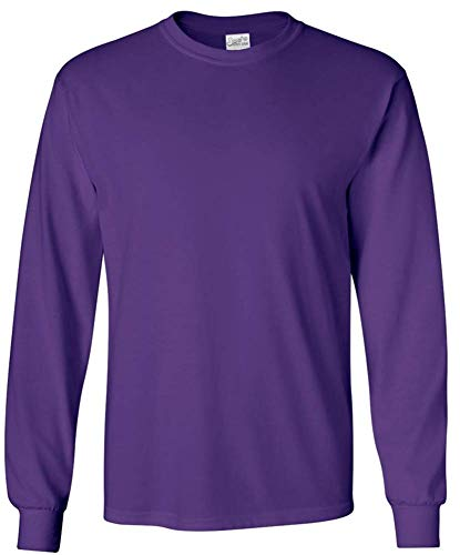 Joe's USA Men's Long Sleeve Cotton Crewneck T-Shirt Purple-XL