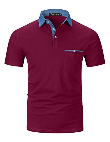 GHYUGR Polos Manga Corta Hombre Costura de Mezclilla Denim Camisas Slim Fit Camiseta Golf Poloshirt Oficina T-Shirt Verano Primavera,Rojo Vino,XL