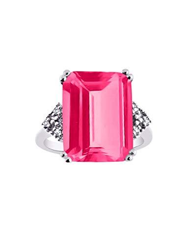 RYLOS Designer Ring Emerald Cut Gemstone & Genuine Sparkling Diamonds in Sterling Silver .925-16X12MM Color Stone Rectangular