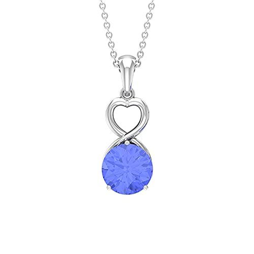 Rosec Jewels 18 quilates oro blanco Round Brilliant Blue Tanzanite