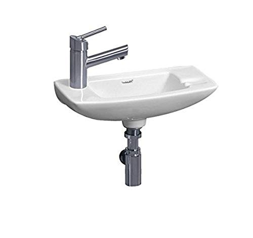 Whitehaus WH1-103L-WH Isabella 17-1/2-Inch Small Wall-Mount Lavatory Basin with Center Drain and Left-Hand Faucet Drilling, Wh