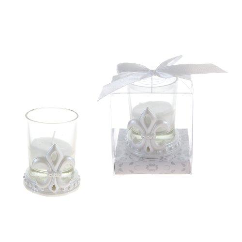 Lunaura Wedding Keepsake - Set of 12 Fleur De Lis Design Candle Set Favors - White