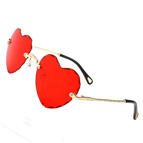 OGOBVCK Corazon en forma de gafas de sol de Moda Mujer Chica colorida degradado gafas lentes sin montura (Red)