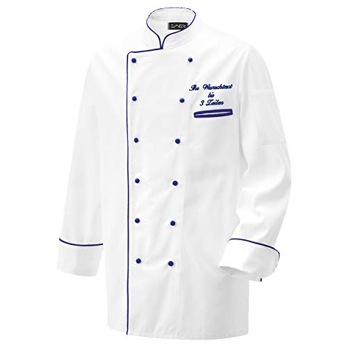 Nashville print factory Kochjacke Bäckerjacke Jacke weiß mit Farbiger Paspel inklusive Knöpfe mit Name/Text Bestickt (L, Paspel dunkelblau)