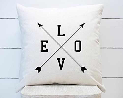 Funda de almohada cuadrada con flechas de amor para decoración del día de San Valentín, casa de campo, para sofá, dormitorio, cama, coche, decoración