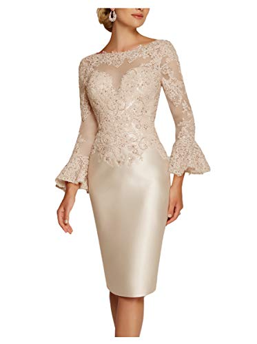 Newdeve Mother of The Bride Dresses Tea Length Lace Sheath Women's Formal Dresses Pagoda Sleeves Champagne