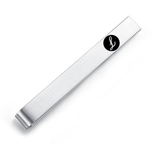 HONEY BEAR Clip Pasador de Corbata -Carta Inicial Alfabeto Talla Normal para Hombre Necktie, Acero Inoxidable,Boda Negocio Regalo,5.4cm,Cepillado Plata con Letra Negra