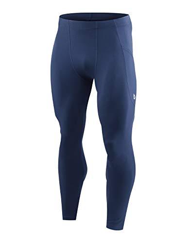 BALEAF Men's Active Yoga Leggings Gym Training Workout Pants Athletic Dance Tights Base Layer Side Pocketed Dark Blue M