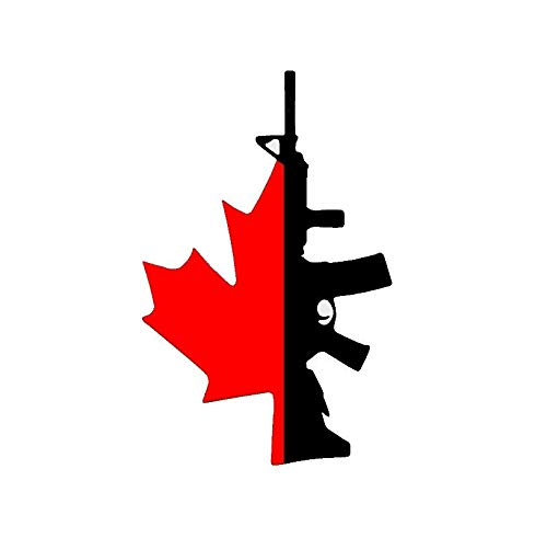 Brand Free 25cm Car Stickers Canadian Flag with Gun Decal Sticker for Your Car Truck Window Wall Tablet Fuck Gun Control Justin Canada