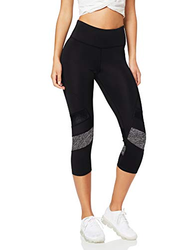 Amazon Brand - AURIQUE Leggings deportivos capri con paneles para mujer, Negro (Black/Grey Marl), 36, Label:XS