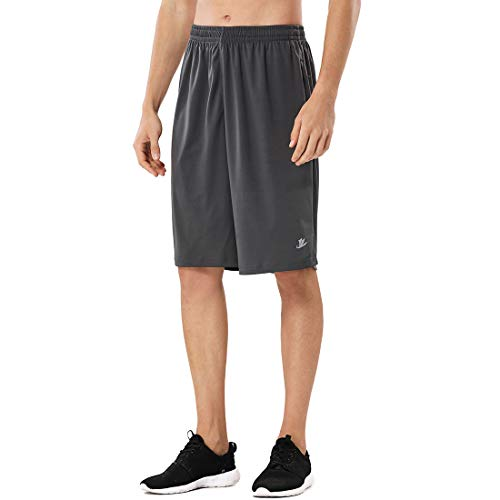 Devoropa Men's Athletic Basketball Shorts Loose-Fit Performance Sports Workout Shorts Zipper Pockets Gray L