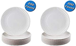 Nicole Home Collection 100 Count Everyday Dinnerware Paper Plate, 6-Inch, White (200 Count) (Тwо Расk)