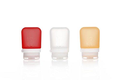 Humangear GoToob + Silikon Reise Flasche mit Sicherung Gap, 3er Pack, (50), Clear/Red/Orange (Mehrfarbig) - HG3182
