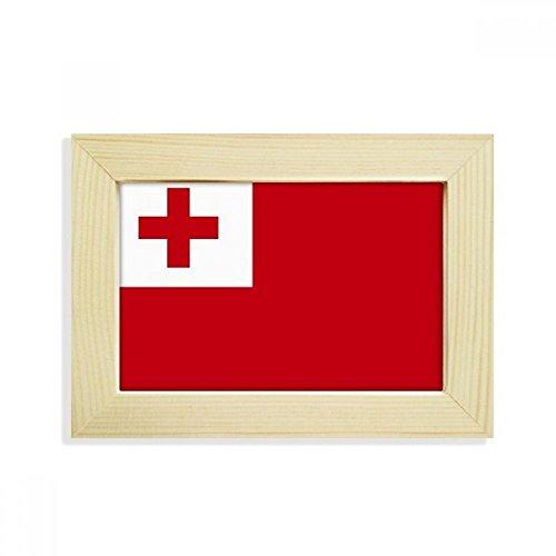 DIYthinker Tonga National Flagge Ozeanien Land Desktop-HÖlz-Bilderrahmen Fotokunst-Malerei Passt 10.2 x 15.2cm (4 x 6 Zoll) Bild Mehrfarbig