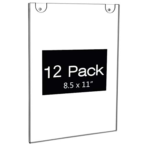 8.5 x 11 Acrylic Wall Mount Sign Holder with Screws and Adhesive Tape, 8,5x11 Wall Mount Door Sign Holder 11 x 8 1/2 Vertical,Clear Acrylic Sign Holder Poster Paper Holder with Free 3M Tape (12 Pack)