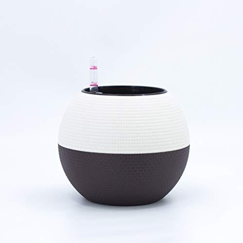 Jren-zk SZQ-FlowerPot bloempot, Imitatie rotan geweven bloempot indoor bureaubladvensterbank Bolvormige bloempot Automatische waterabsorberende bloempot Plant Pot