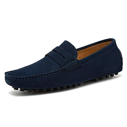 Go Tour Men's Penny Loafers Moccasin Driving Shoes Slip On Flats Boat Shoes Dark Blue 42