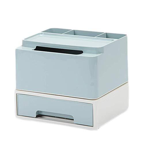 ZTMN Boîte de Rangement cosmétique Coiffeuse Bureau Rouge à lèvres Produits de Soins de la Peau Boîte de Finition Boîte à mouchoirs 21,3 * 18,5 * 18,3 cm (Couleur: Bleu)