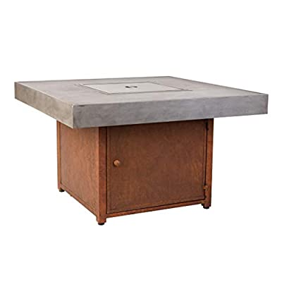Fire Sense Romada Square Aluminum LPG Fire Pit Table | 50,000 BTU Output | Uses 20 Pound Propane Tank | Fire Bowl Lid, Vinyl Weather Cover, and Clear Fire Glass Included | Lightweight Outdoor Heater