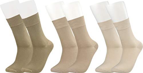 Vitasox 43042 Bambus Socken für Damen und Herren, atmungsaktive Bambussocken mit weichem Komfortb& ohne Gummi, Qualitäts Strümpfe gegen Schweiß ohne Naht an den Zehen, 3 Paar natur 39-42