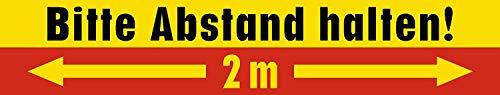 10 Stück Warnhinweis Aufkleber | Fußbodenaufkleber | Bodenmarkierung | 2m Abstand halten! | Wieder ablösbar | 42x8cm | Kratz- und Wischfest | Rutschhemmend R9 | DIN 51130…(gelb-rot)
