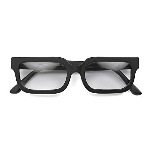 LONDON MOLE Eyewear   ICY Lesebrille   Quadratische / Rechteckige Brille   Coole Leser   Herren Damen Unisex   Federscharniere   Mattschwarz   +1.0