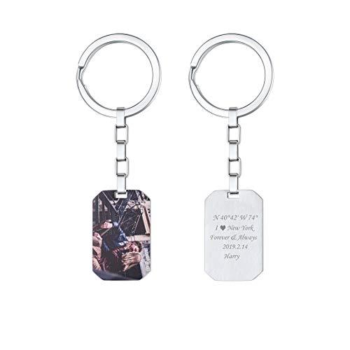 U7 Porte-clés Personnalisable Photo Texte Porte-clefs Personnalisé en Acier pour Homme Femme Accessoire de Sac Bagage Cadeau Unique Unisexe Anniversaire Fêtes Noël