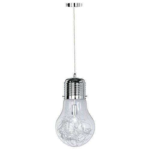 ETiME Pendelleuchte Deckenleuchte Hängelampe Kronleuchter LED Glühlampe mit Drahtgeflecht chrom (Silberiges Drahtgeflecht)