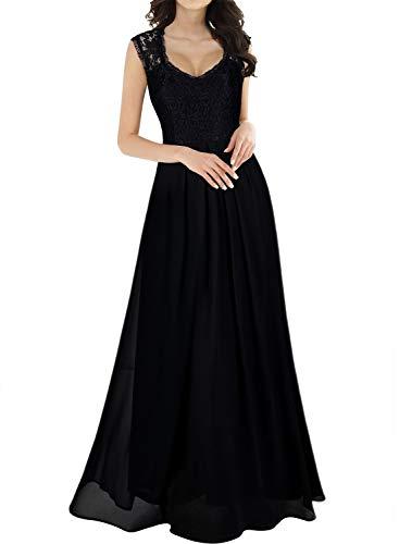 Miusol Women's Casual Deep- V Neck Sleeveless Vintage Maxi Black Dress medium