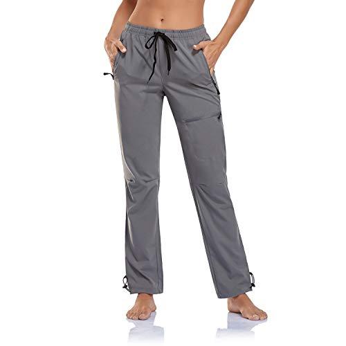 BINSTERAIN Women's Cargo Hiking Pants Zipper Pockets Lightweight Outdoor Elastic Waist Quick Dry Water Resistant UPF 50+ Long Pants (Gray, XL)