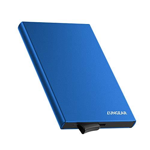 LUNGEAR Tarjetero de Aluminio para Tarjetas de Crédito, RFID Bloqueo Ejector la Cartera, Tarjetero Metálico de 5 Tarjetas para Hombre o Mujer (Azul)
