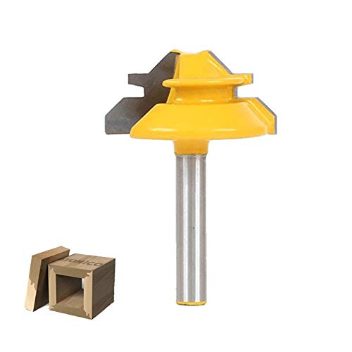 TASHOHM Router bit, 3/8 Inch Cutting Height, 45 Degree Lock Miter Router Bit 1/4 Inch Shank, Professional Joint Router Bit Carpenter Tool