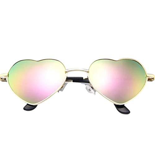 Gafas de sol con forma de corazón para mujer Lolita Retro Hippy Vintage Ibiza Festival Love (verde manzana)