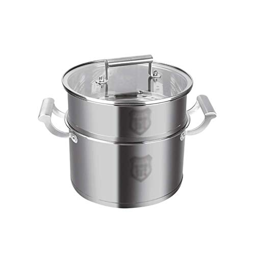 Large 2 Nivel de acero inoxidable Multi Alimento Cocinero Potador de cocinero, tapa de vidrio endurecido, olla de sopa de fondo de cinco capas de cinco capas + vapor (tamaño: 30 * 29.6cm) (Tamaño: 28